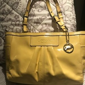 Coach Yellow Patent Leather Gallery Tote F13761